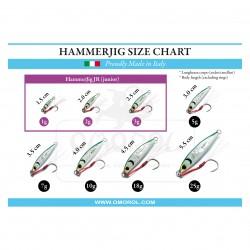 OMOROL® HammerJig JR (junior) size chart